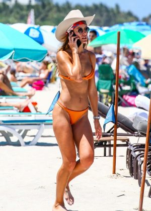 Natalia Borges in Orange Bikini on the beach in Miami