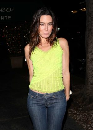 Natalie Denise Sperl wears a neon yellow shirt at Italian Restaurant Madeo in West Hollywood