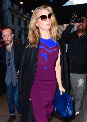 Natalie Dormer in Purple Dress out in NYC