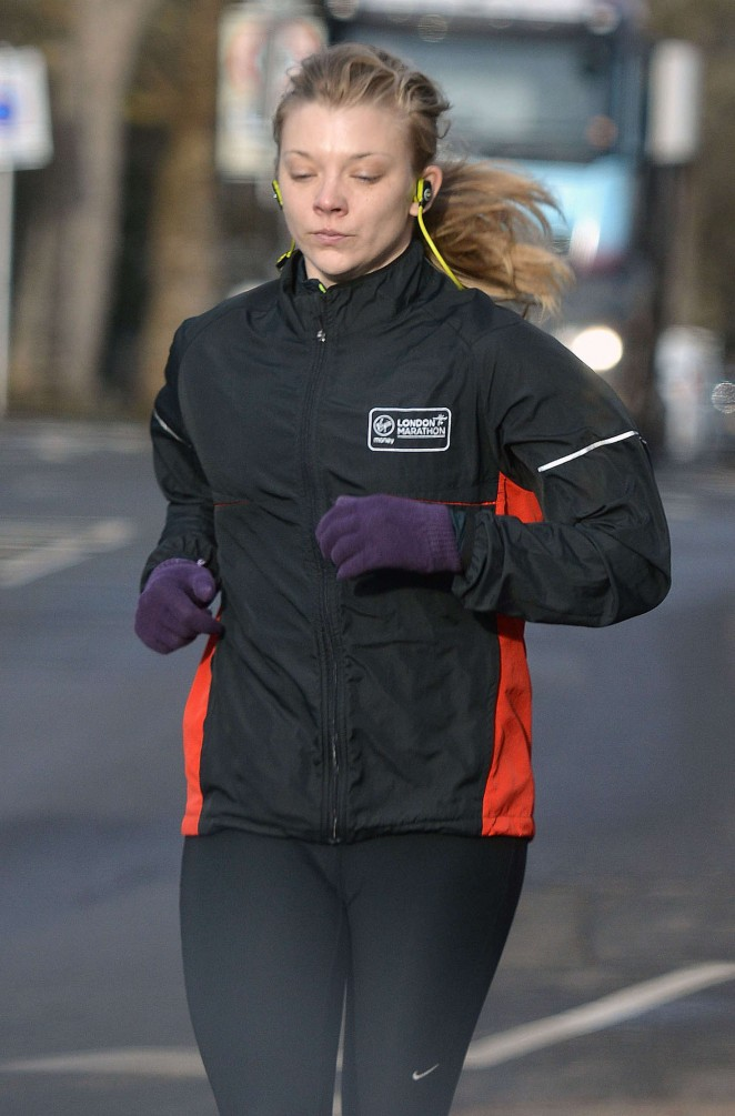 Natalie Dormer in Tights out for a hike in a Park in London