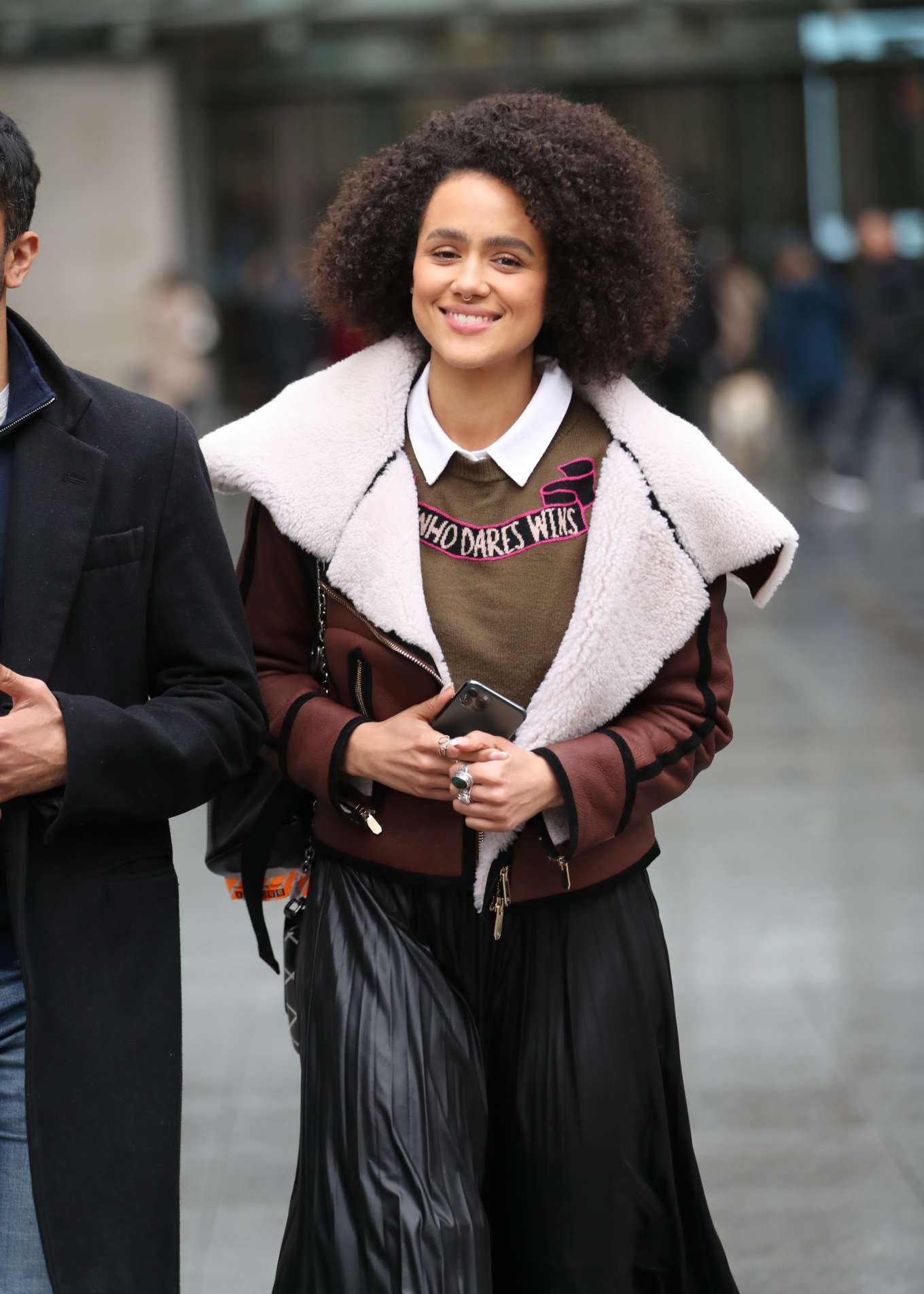 Natalie Emmanuel - Exits The BBC Studios in London