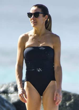 Natalie Pinkham in Black Swimsuit in Barbados