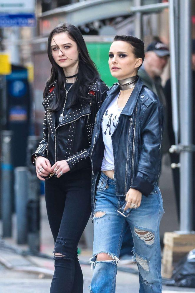 Natalie Portman and Raffey Cassidy – Filming new movie 'Vox Lux' in New York