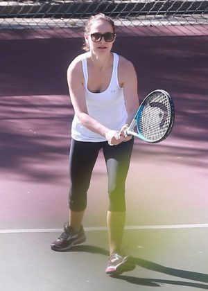 Natalie Portman at a tennis workout in Los Angeles