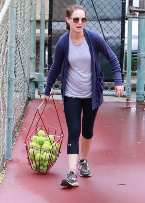 Natalie Portman gets in a morning tennis class in Los Angeles