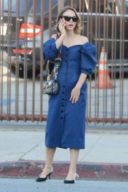 Natalie Portman in Blue Dress - Out in Los Feliz