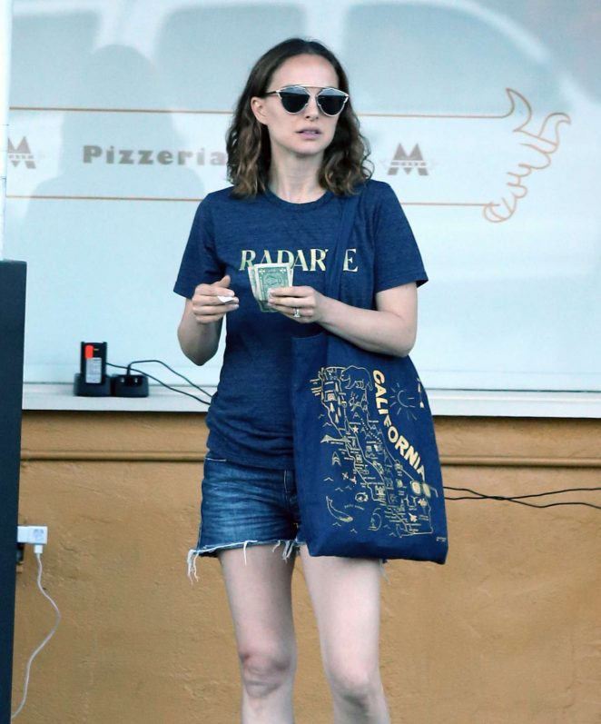 Natalie Portman in Jeans Shorts out in Hollywood