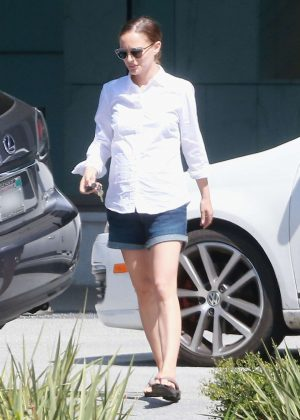 Natalie Portman in Jeans Shorts out in Los Angeles