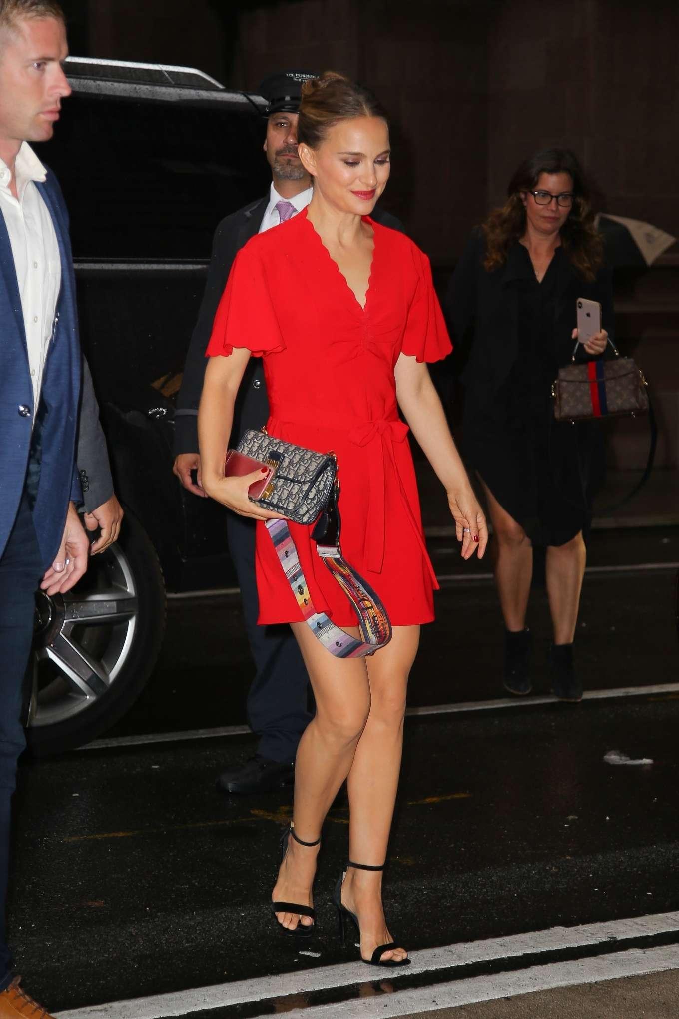 Natalie Portman - In Red dress outside Good Morning