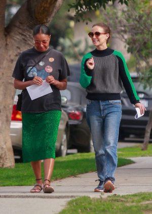 Natalie Portman with a friend out in Los Feliz