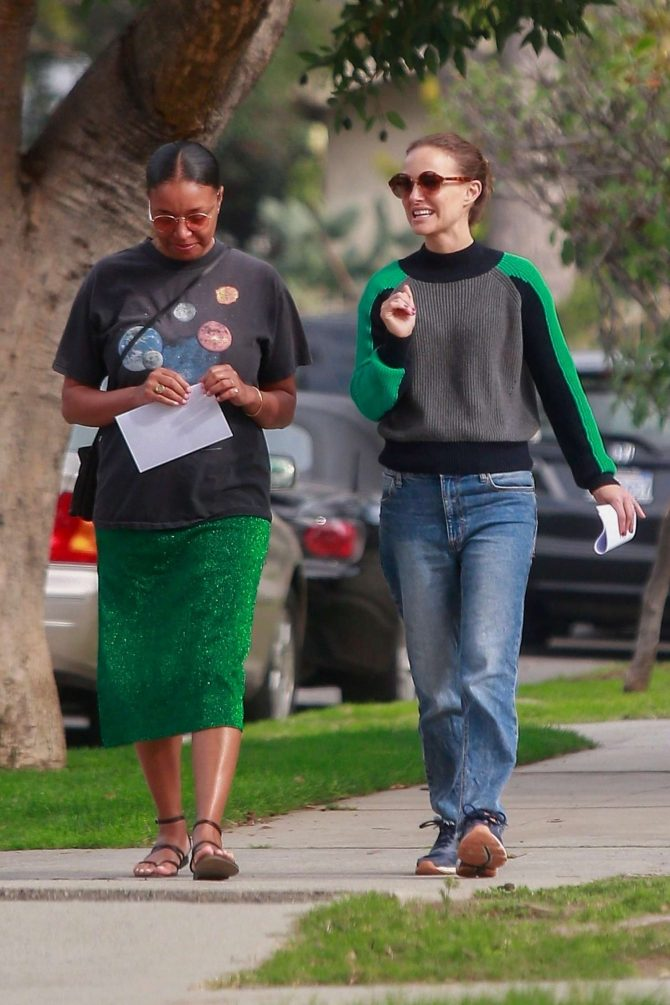 Natalie Portman with a friend out in Los Feliz