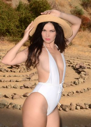 Natasha Blasick in White Swimsuit - Photoshoot in Los Angeles