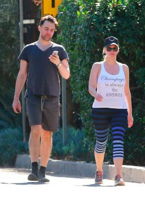 Natasha Henstridge and her husband Darius Campbell out in Studio City