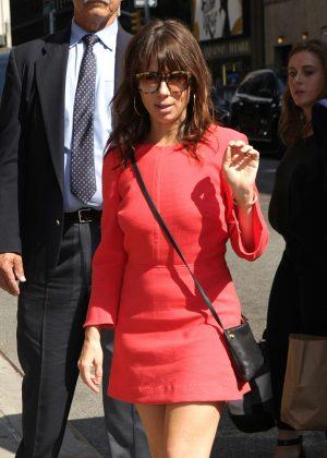 Natasha Leggero in Red Dress at The Late Show in NY