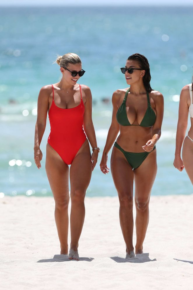 Natasha Oakley and Devin Brugman on the beach in Miami