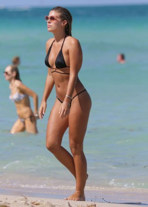 Natasha Oakley in Black Bikini in Miami