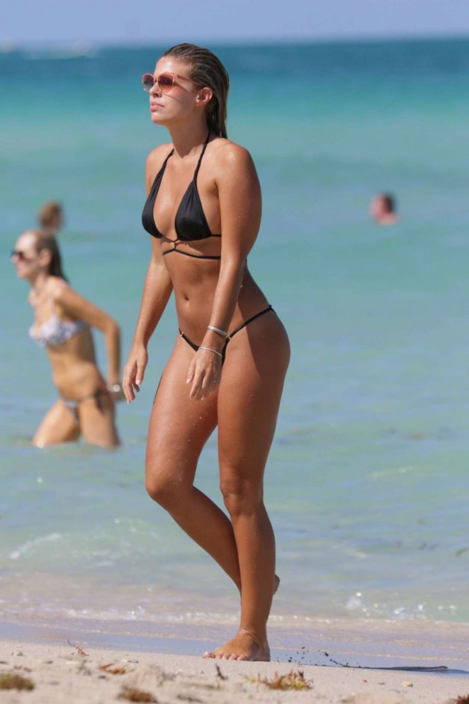 Natasha Oakley in Black Bikini in Miami