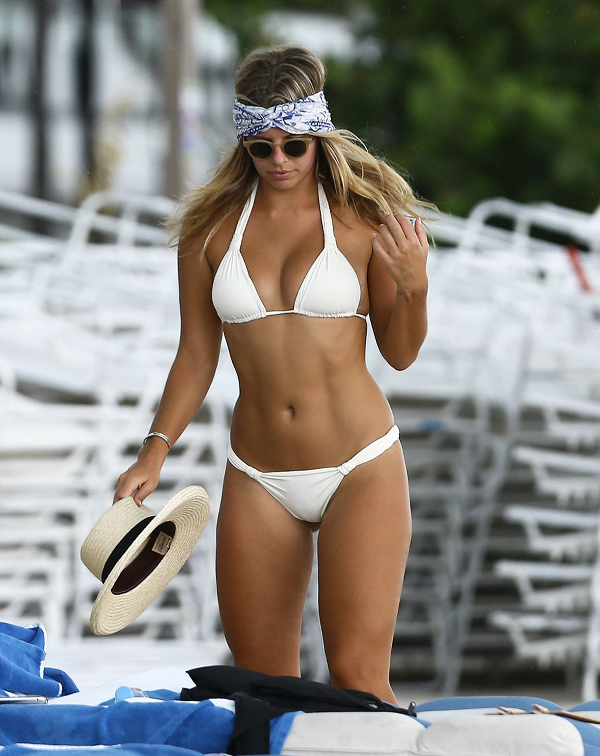 Natasha Oakley in White Bikini on Miami Beach