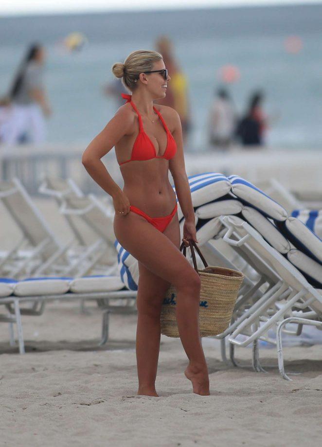 Natasha Oakley in Red Bikini at Miami Beach