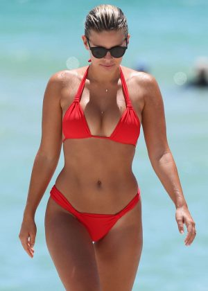 Natasha Oakley in Red Bikini at Miami Beach