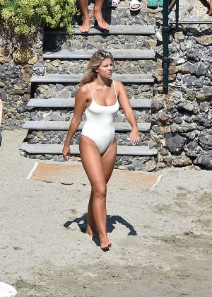 Natasha Oakley in White Swimsuit in Portofino