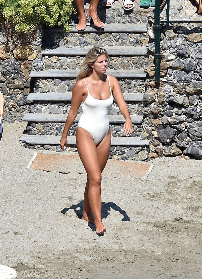 Natasha Oakley in White Swimsuit in Portofino