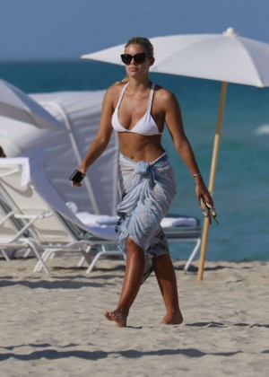 Natasha Oakley in White Bikini in Miami