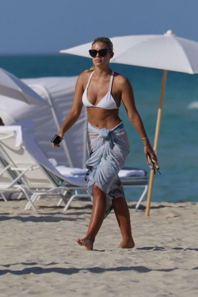 Natasha Oakley in White Bikini in Miami