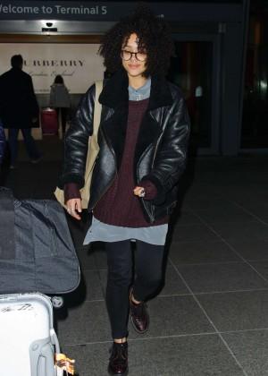 Nathalie Emmanuel - Arrives at Heathrow Airport in London