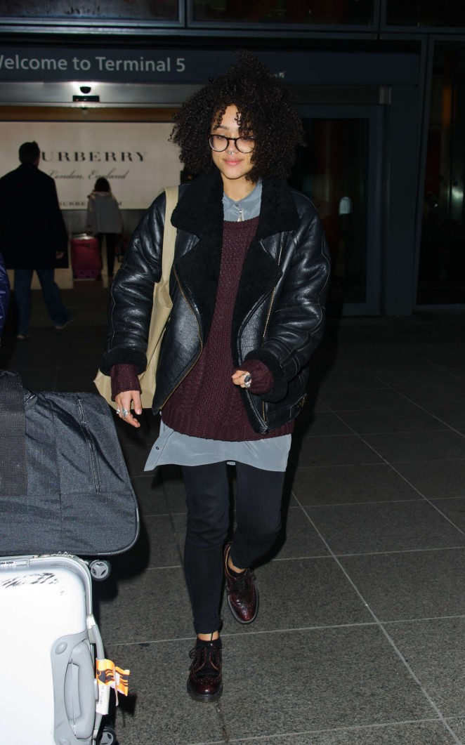 Nathalie Emmanuel - Arrives at Heathrow Airport in London