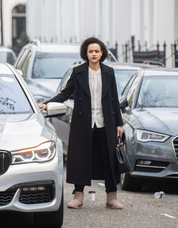 Nathalie Emmanuel - Flming 'Four Weddings and a funeral' TV show in West London