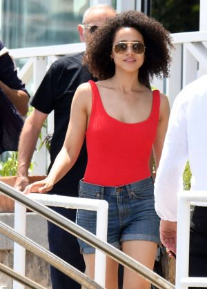 Nathalie Emmanuel in Jeans Shorts at Hotel Regina Isabella in Ischia