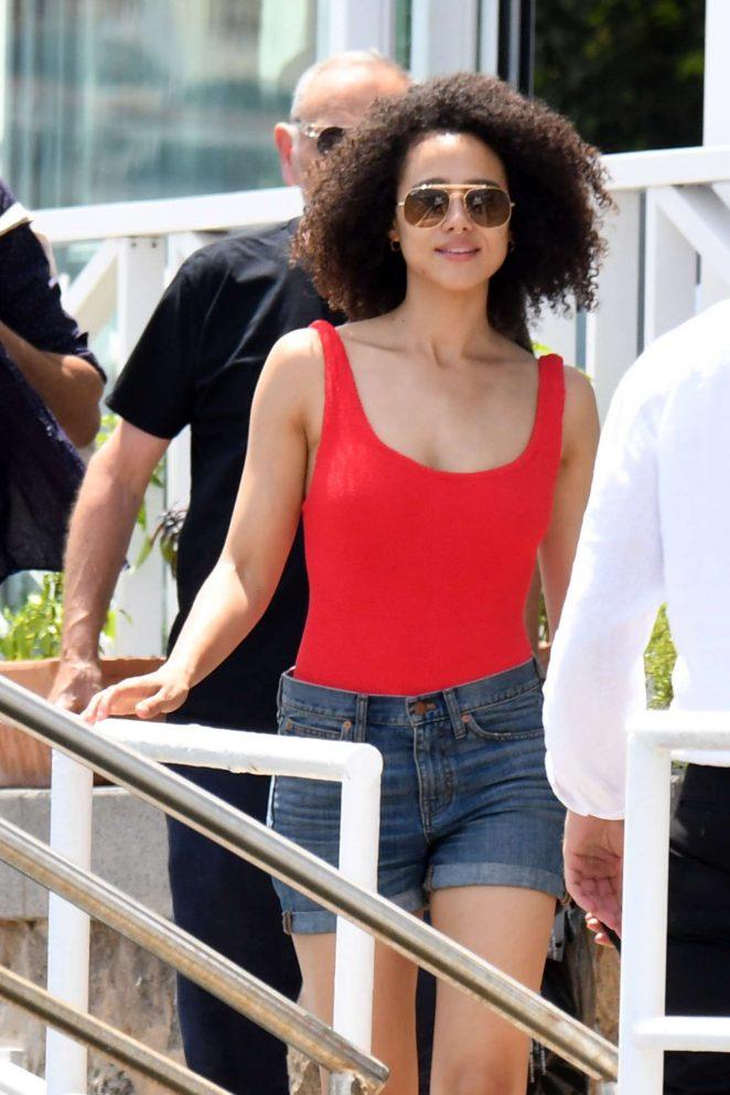 Nathalie Emmanuel in Jeans Shorts at Hotel Regina Isabella in Ischia