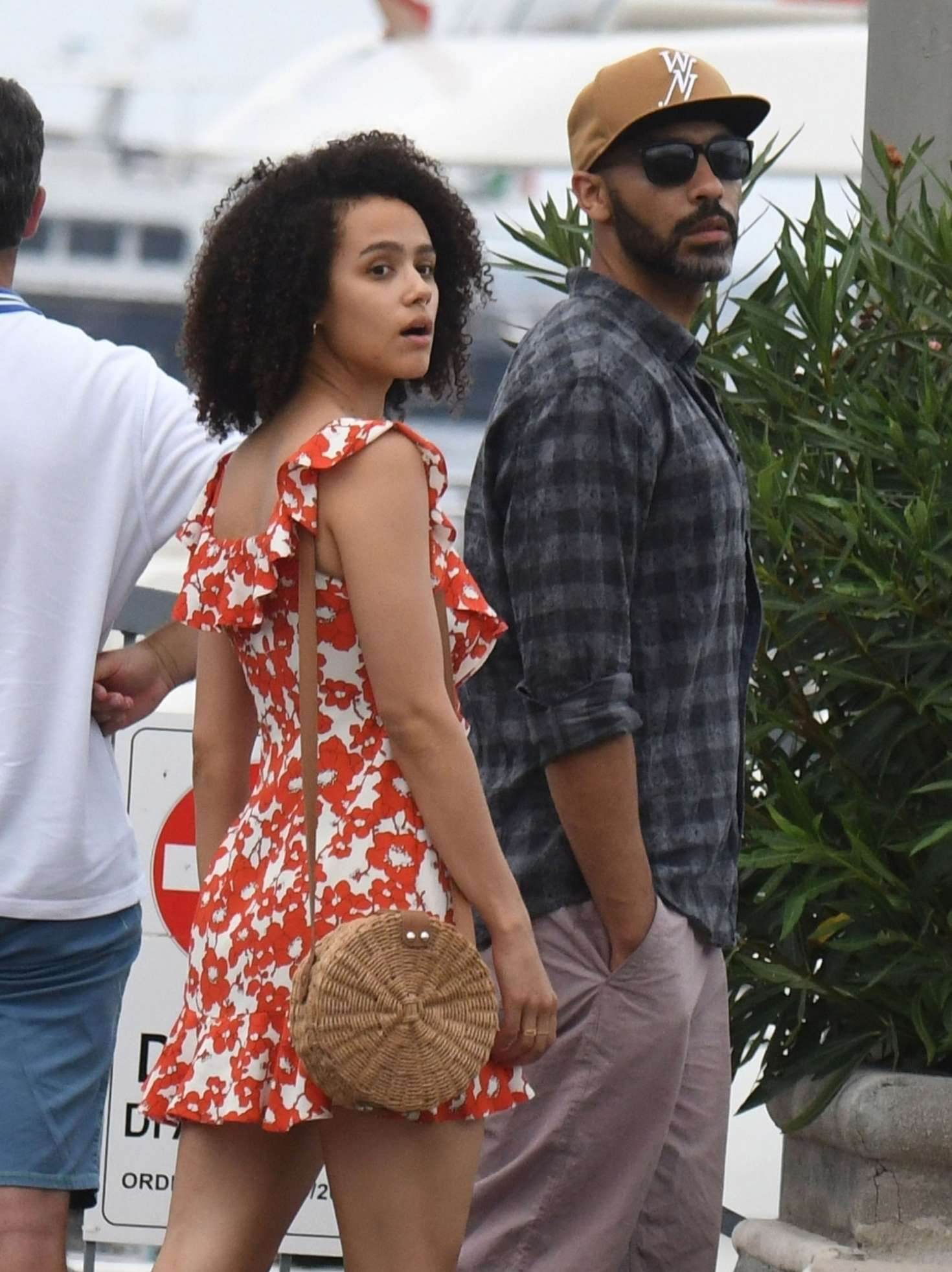Nathalie Emmanuel in Red Mini Dress out in Ischia