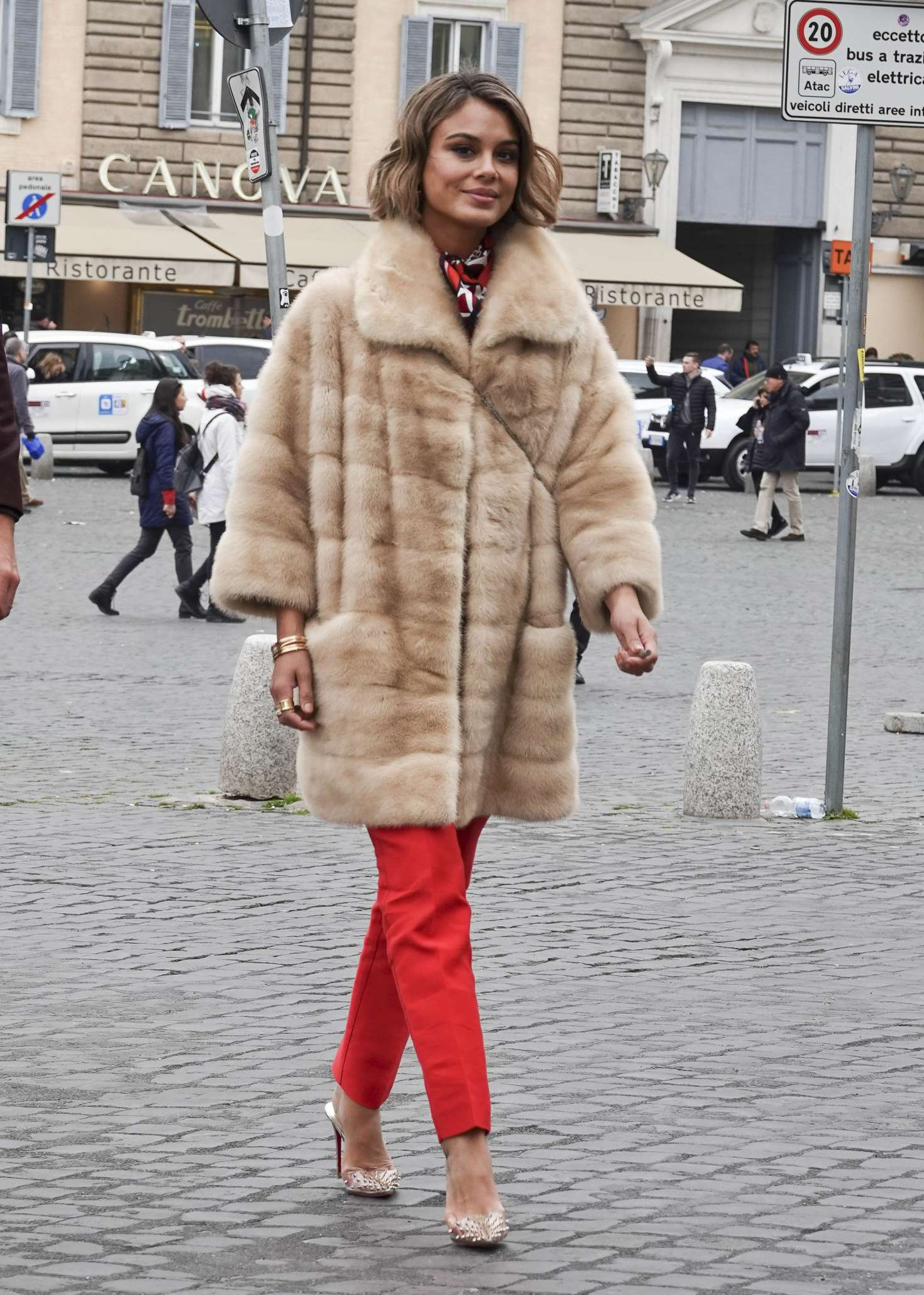 Nathalie Kelley in Fur Coat – Out and about in Rome