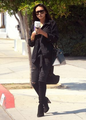 Naya Rivera in Black Jeans out in West Hollywood