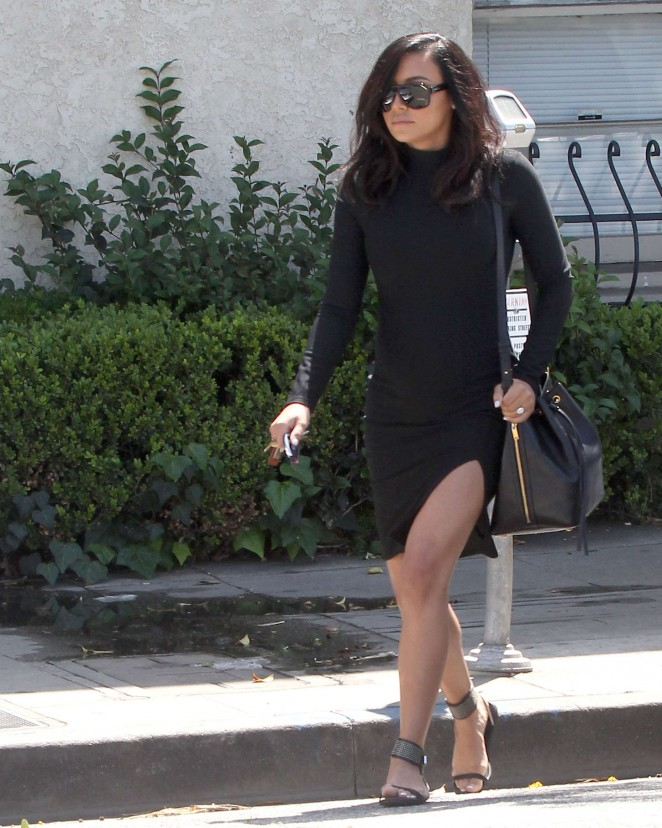 Naya Rivera in Black Mini Dress Out in Beverly Hills