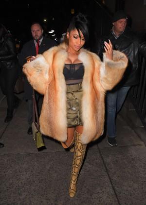 Nicki Minaj in Tight Dress Out in NYC