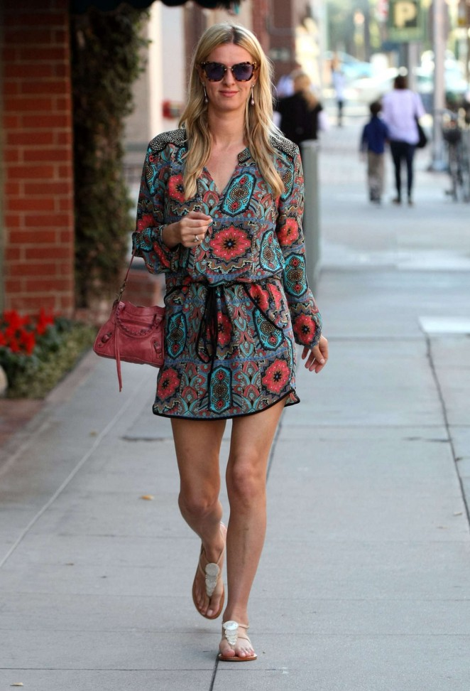 Nicky Hilton in Mini Dress at a nail salon in Beverly Hills