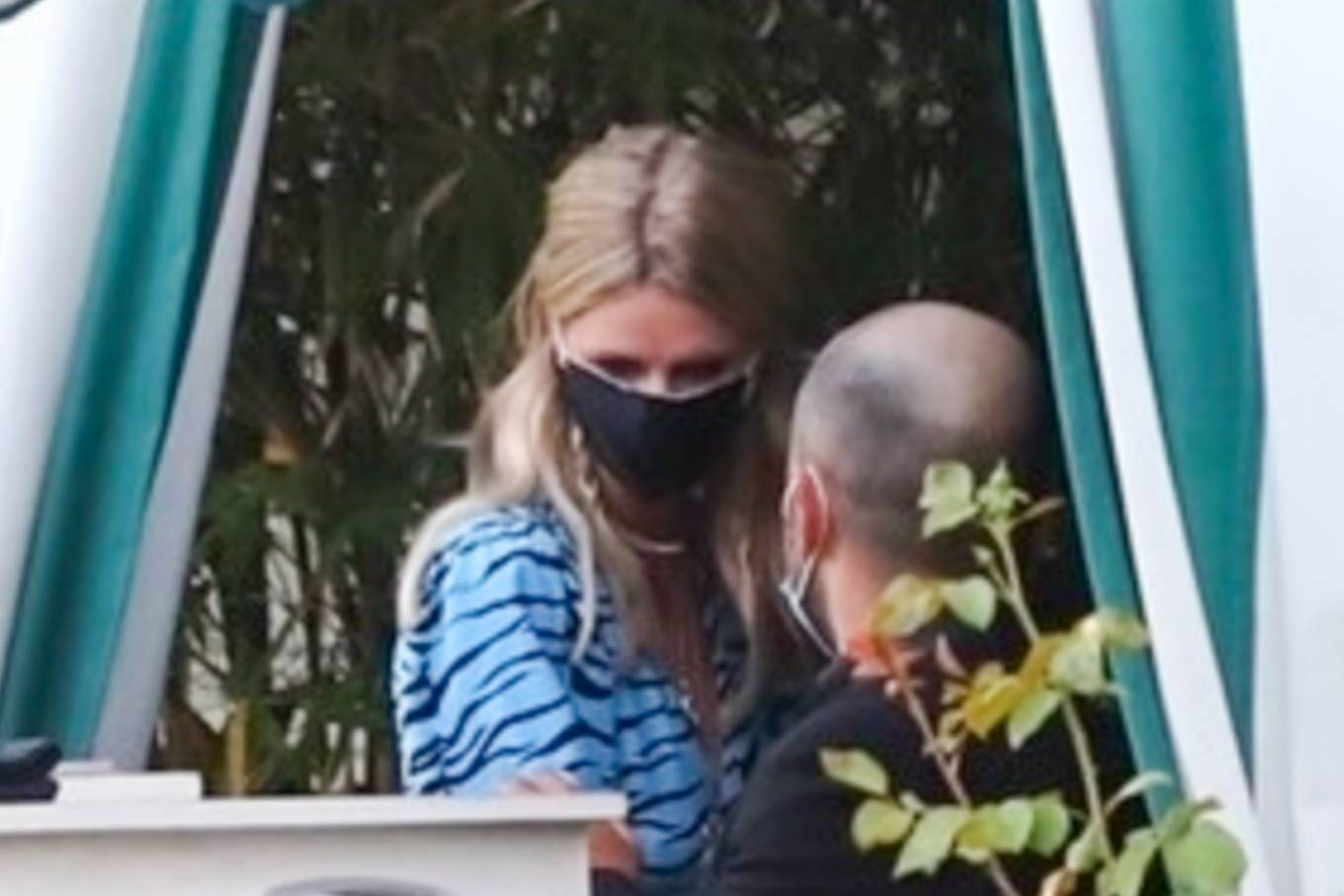 Nicky Hilton - gets her temperature checked in Los Angeles
