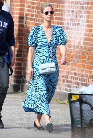 Nicky Hilton - In a blue spring dress with her husband James Rothschild out in Soho - New York
