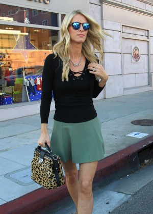 Nicky Hilton in a green mini skirt out in Beverly Hills