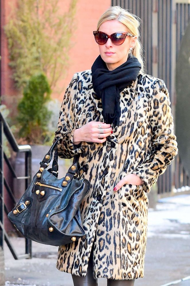 Nicky Hilton in a leopard print coat in NY