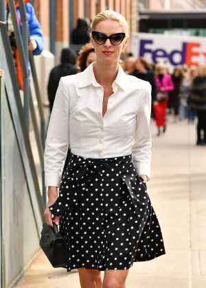 Nicky Hilton in a polka doted skirt in New York