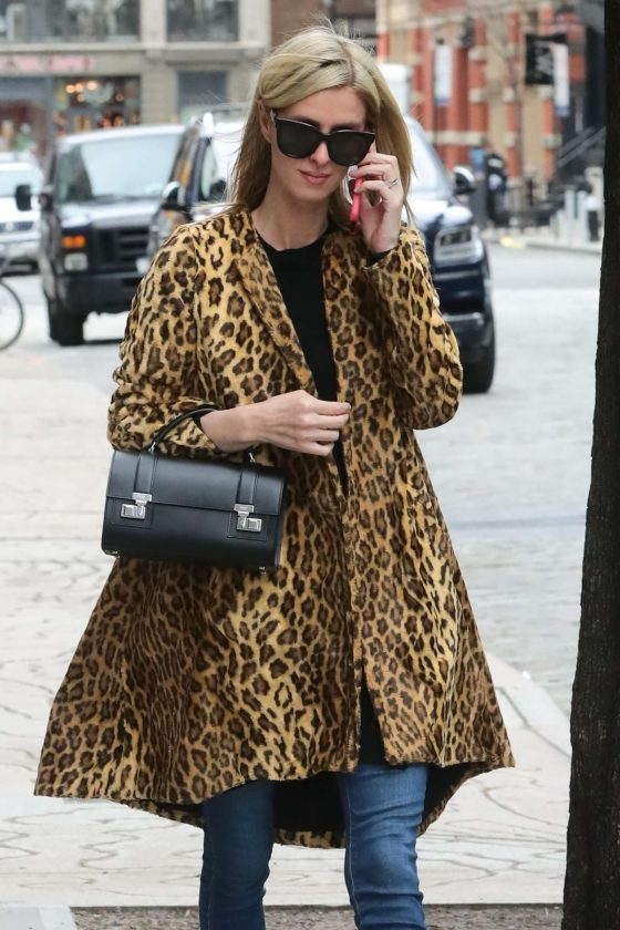 Nicky Hilton in Animal Print Coat - Out for a walk in New York