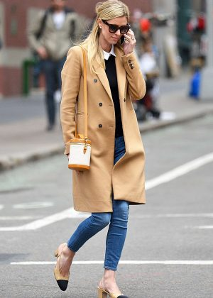 Nicky Hilton in Beige Coat out in New York