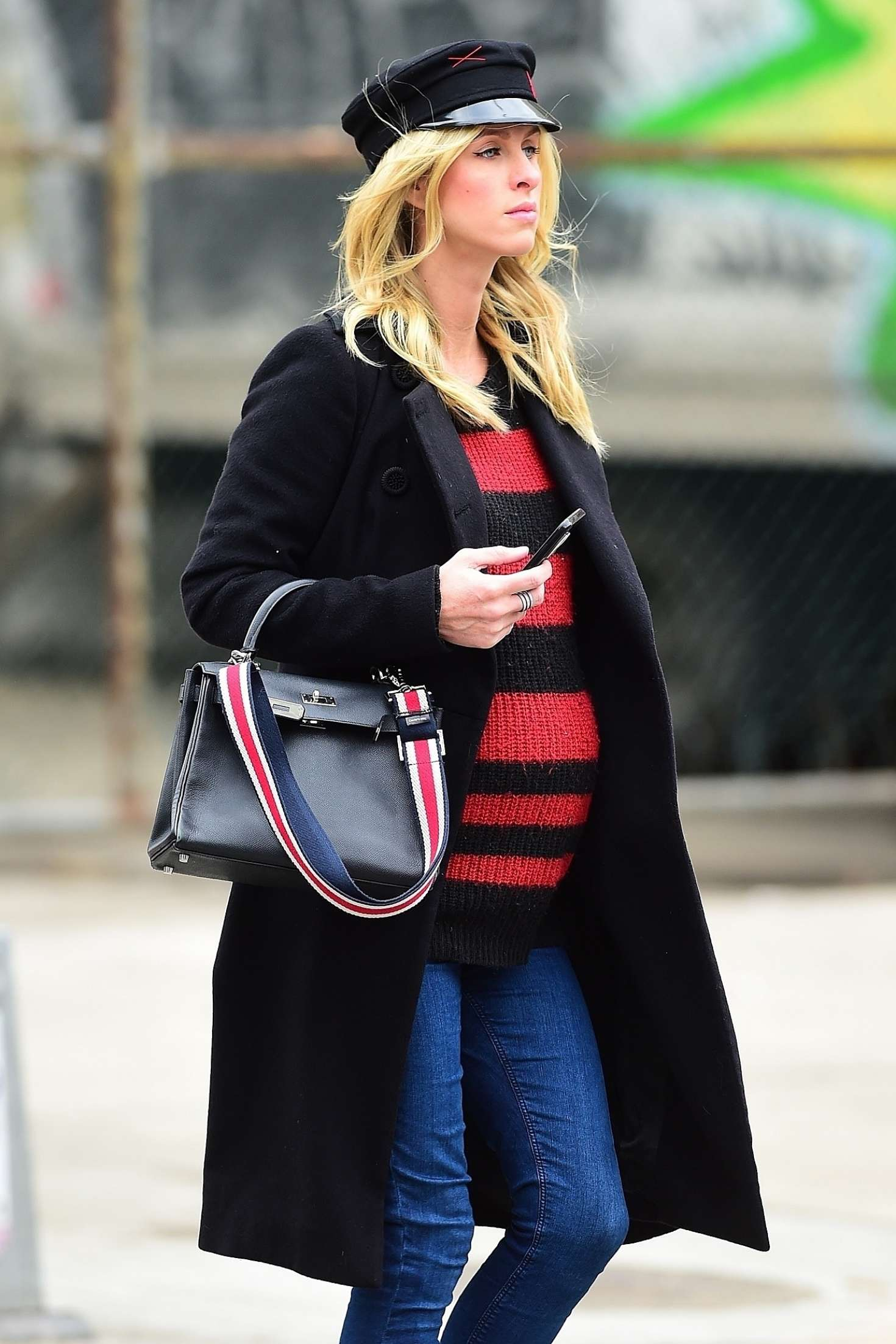 Nicky Hilton in Black Coat and Jeans out in New York City