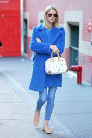 Nicky Hilton in Blue Coat - Out and about in New York City