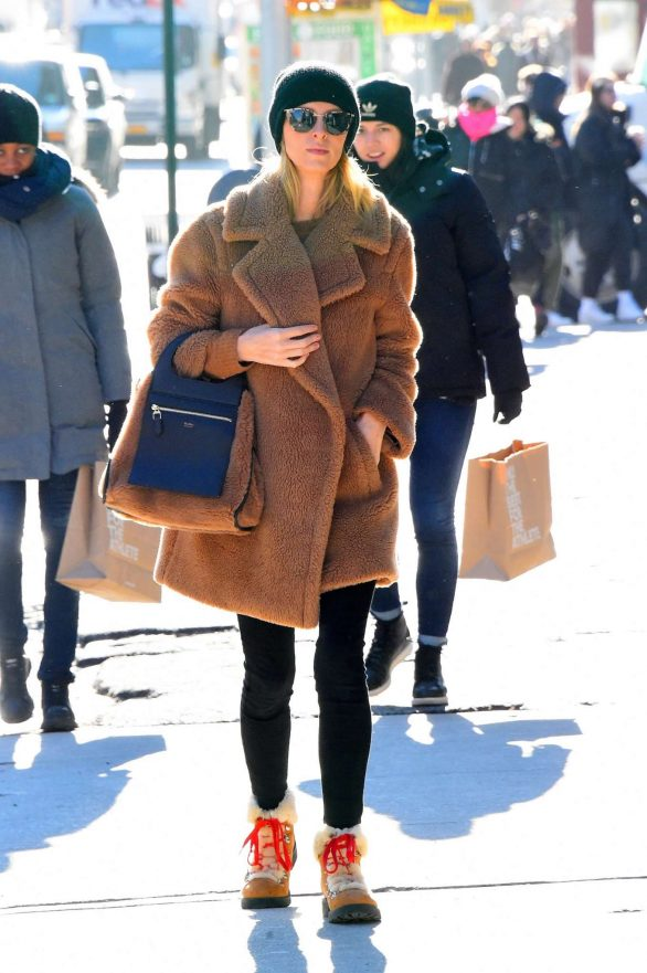 Nicky Hilton in Brown Coat on Christmas Shopping in NYC