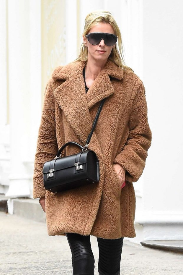 Nicky Hilton in Brown Coat - Out in New York